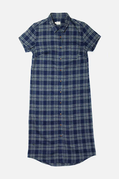 Tula Navy-Grey Plaid Bridge & Burn women's button-front straight-fit dress