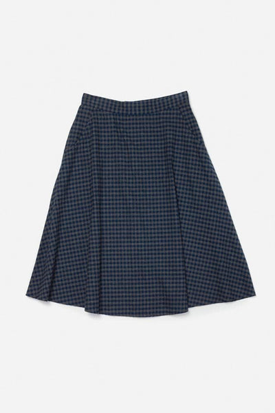 Cara Navy Gingham Bridge & Burn women's a-line skirt