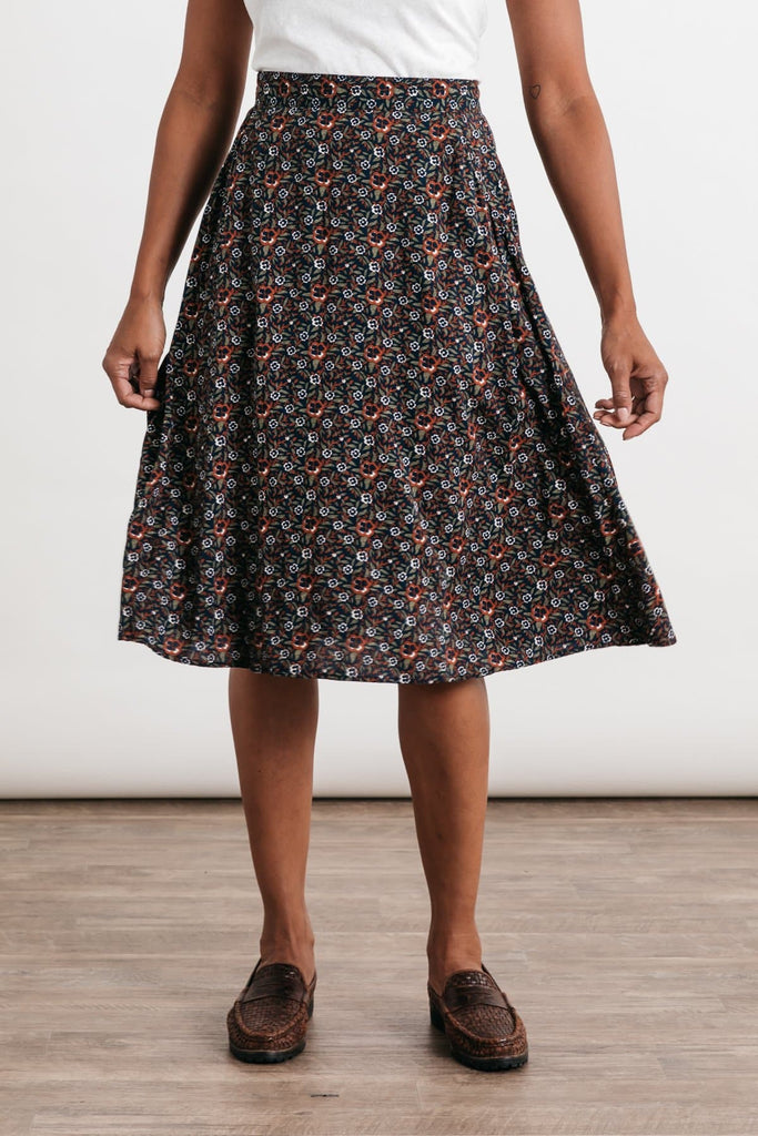 Cara Dark Floral Bridge & Burn women's a-line skirt