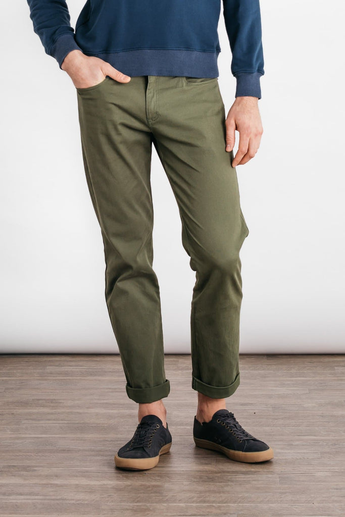 Bridge & Burn polk olive mens slim pants