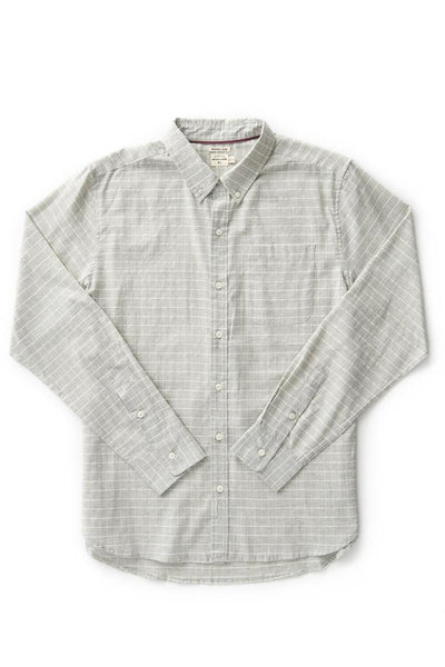 Bridge & Burn sutton Light Grey Grid men's cotton button down shirts