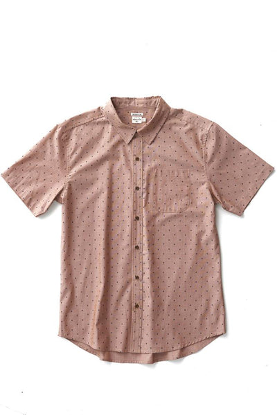 Bridge & Burn harbor copper polkadot mens short sleeve button up