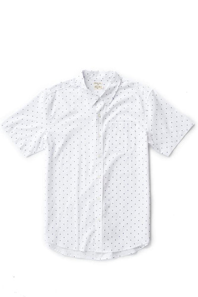 Bridge & Burn harbor white polkadot mens short sleeve button up