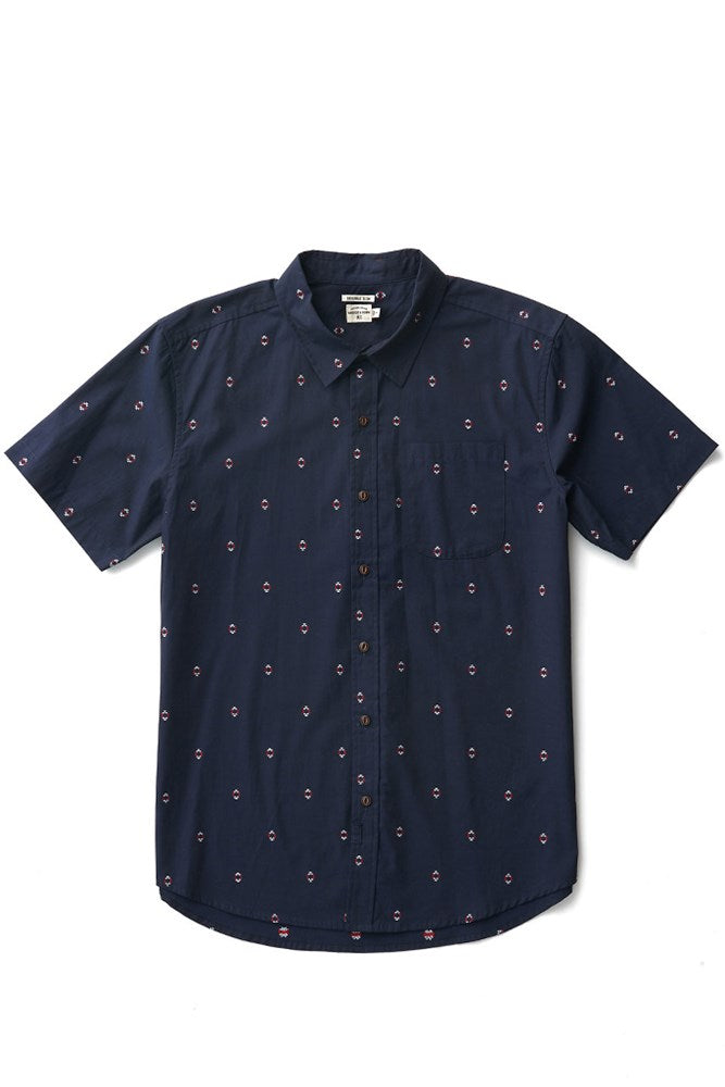 Bridge & Burn harbor navy diamonds mens short sleeve button up