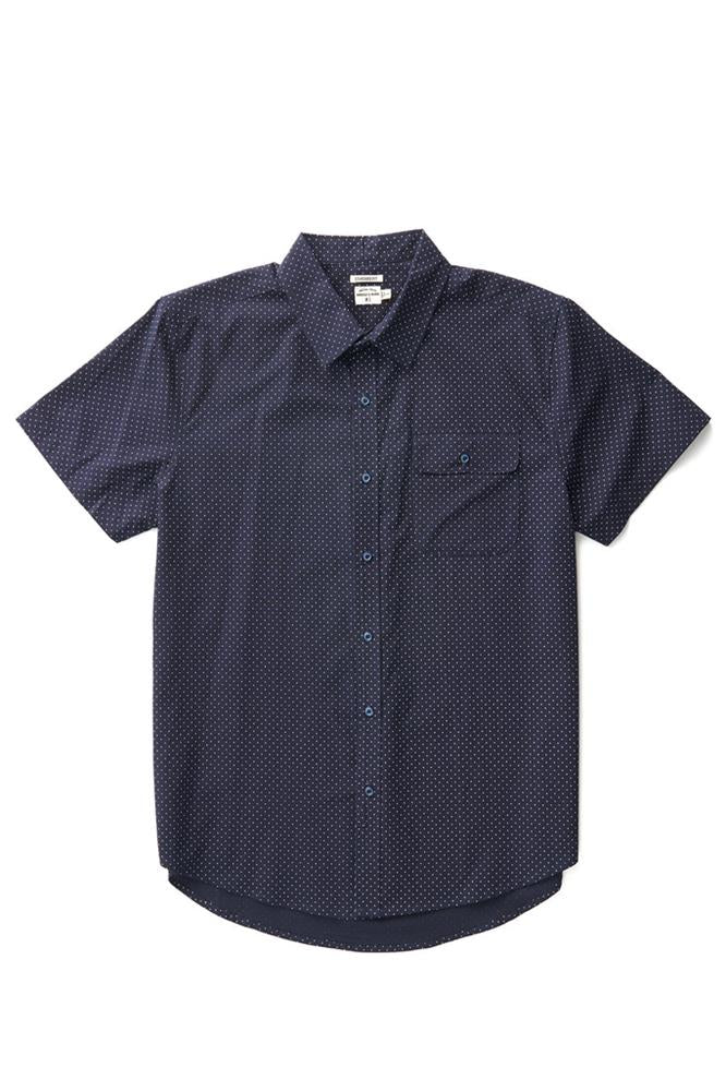 Bridge & Burn marten navy polkadot men's short sleeve button casual shirts