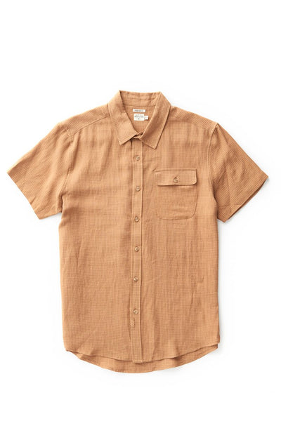 Bridge & Burn men's short sleeve button down casual shirts marten tan gingham