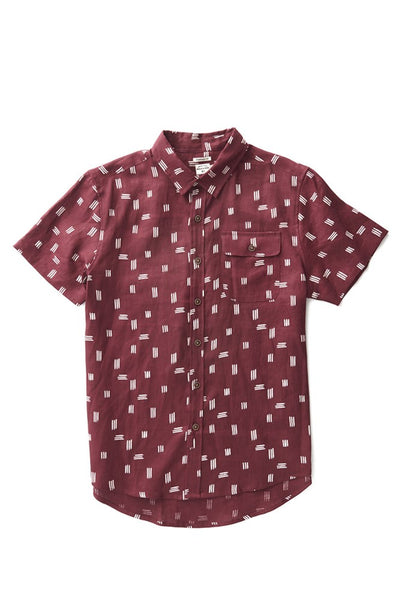 Bridge & Burn men's short sleeve button down casual shirts Marten Burgundy Line Print