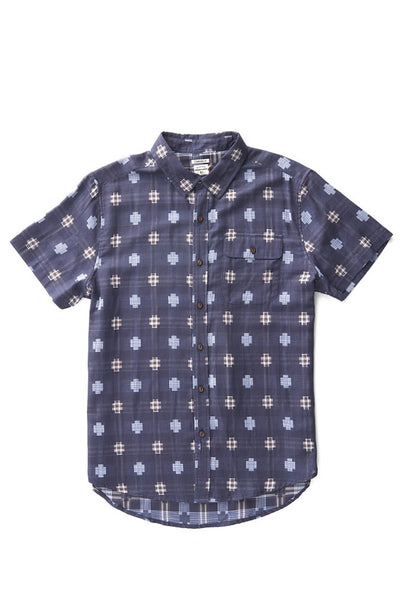 Bridge & Burn men's short sleeve button down casual shirts Marten Navy Multiplaid