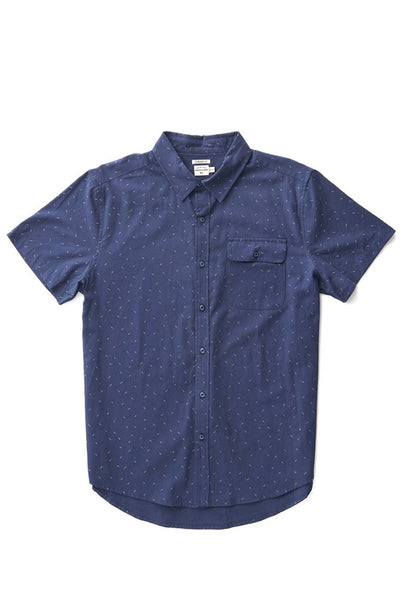 Bridge & Burn men's short sleeve button down casual shirts Marten Navy Dash Print