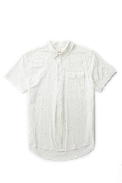 Bridge & Burn men's short sleeve button down casual shirts Marten White Dash Print