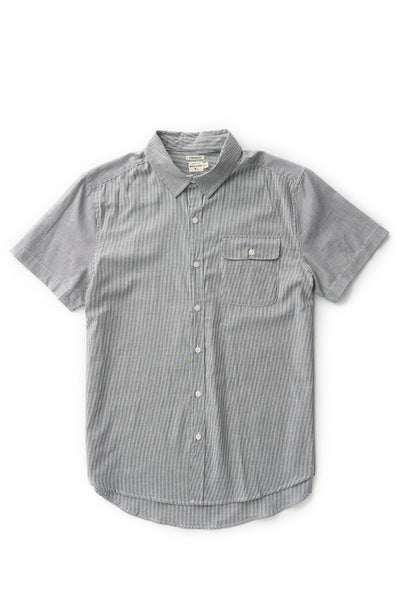 Bridge & Burn men's short sleeve button down casual shirts Marten Charcoal Pinstripe