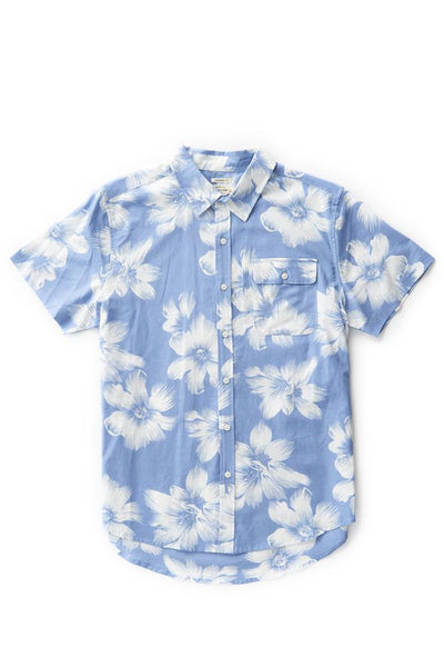 Bridge & Burn marten blue floral men's short sleeve button casual shirts