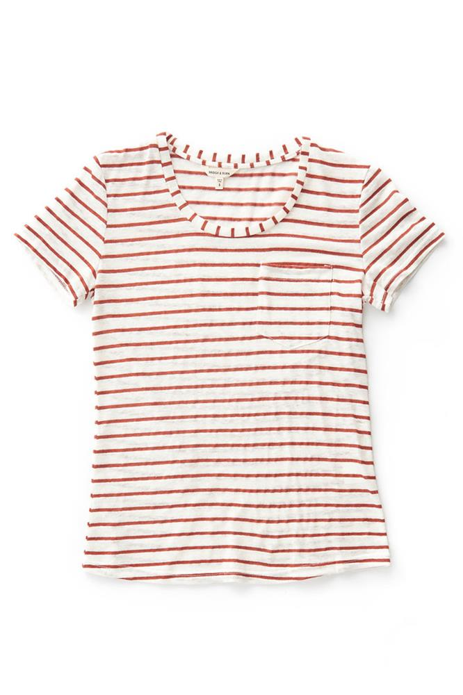 Bridge & Burn striped scoop neck t shirt womens Weber Copper Stripe