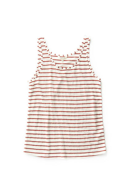 Bridge & Burn womens linen racerback tank top Lyle Copper Stripe