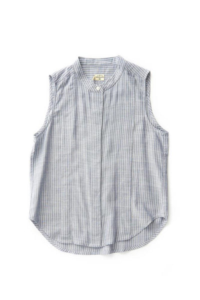 Bridge & Burn rayon sleeveless blouse Hazel Navy Pinstripe