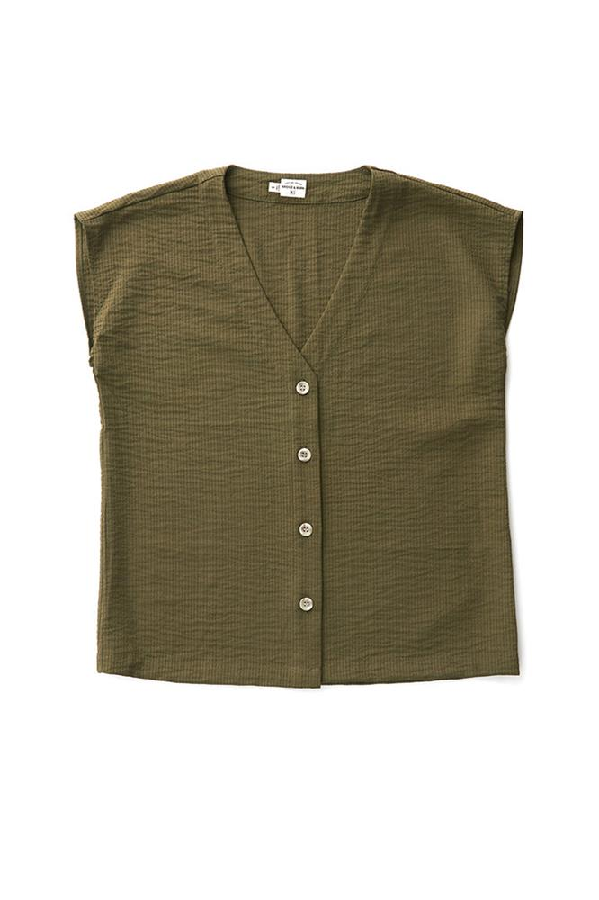 Bridge & Burn nora olive seersucker box cut shirt