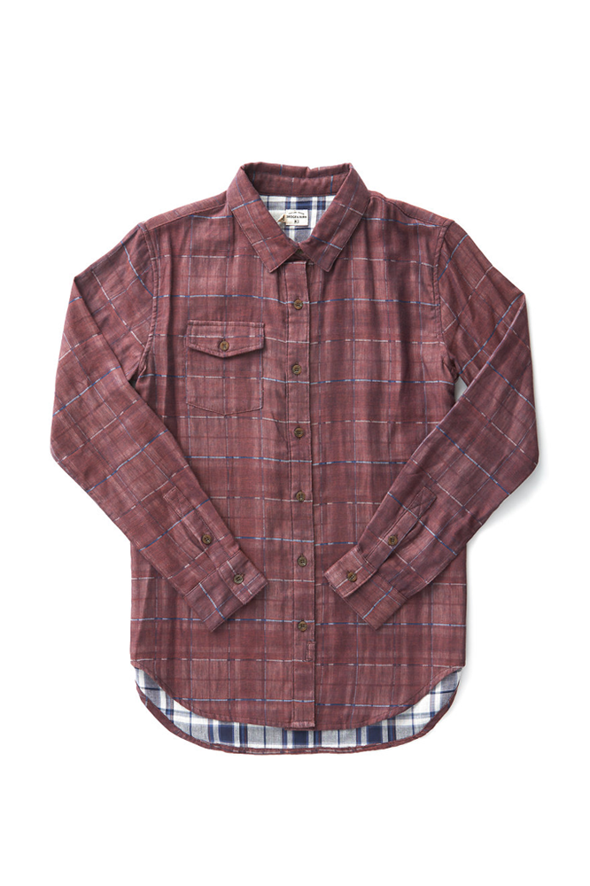 Bridge & Burn robin burgundy doublecloth button down shirt