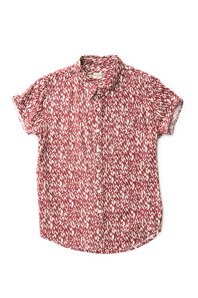 Bridge & Burn bea red print fitted button up shirts womens
