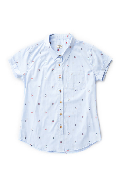 Bridge & Burn fitted button up shirts womens Bea Light Blue Diamonds