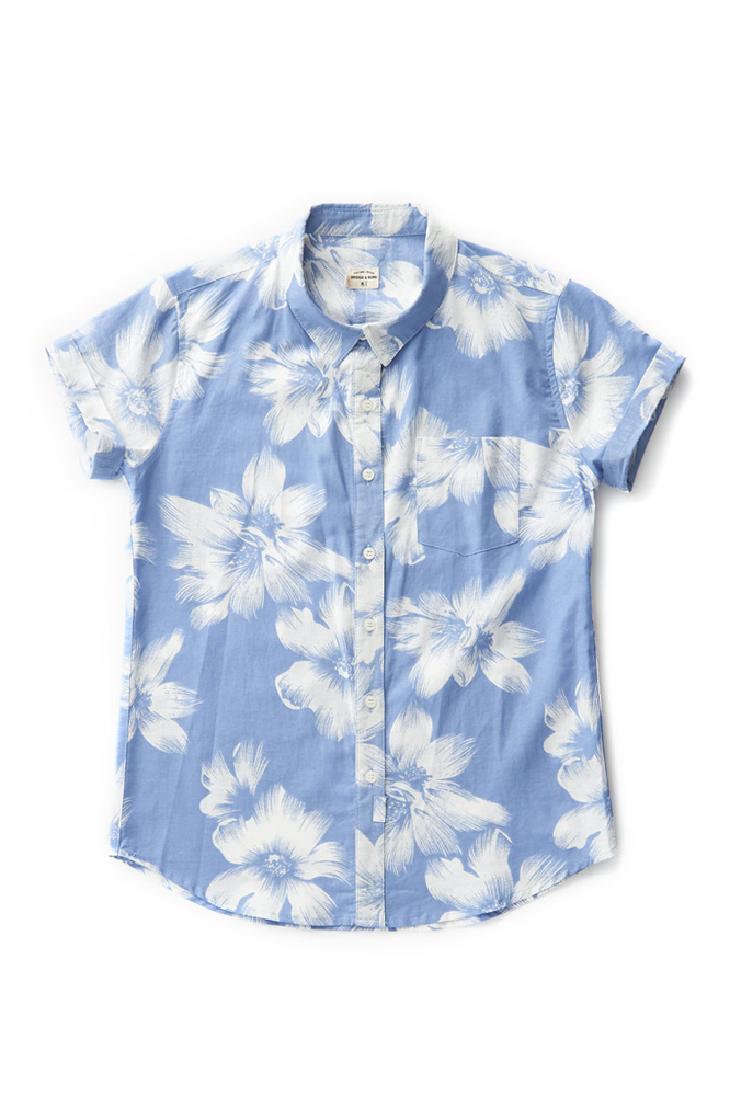 Bridge & Burn bea blue floral fitted button up shirts womens