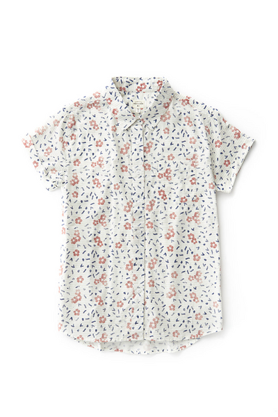 Bridge & Burn bea hibiscus print fitted button up shirts womens