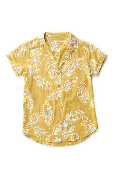 Bridge & Burn womens button up blouse Innes gold frond print