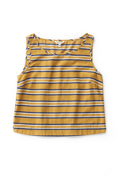 Bridge & Burn womens linen tank top Meridian gold stripe