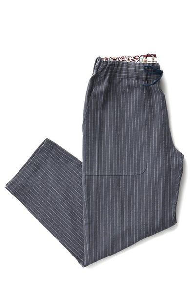 Bridge & Burn women's cotton pants drawstring Clipper Charcoal Pinstripe