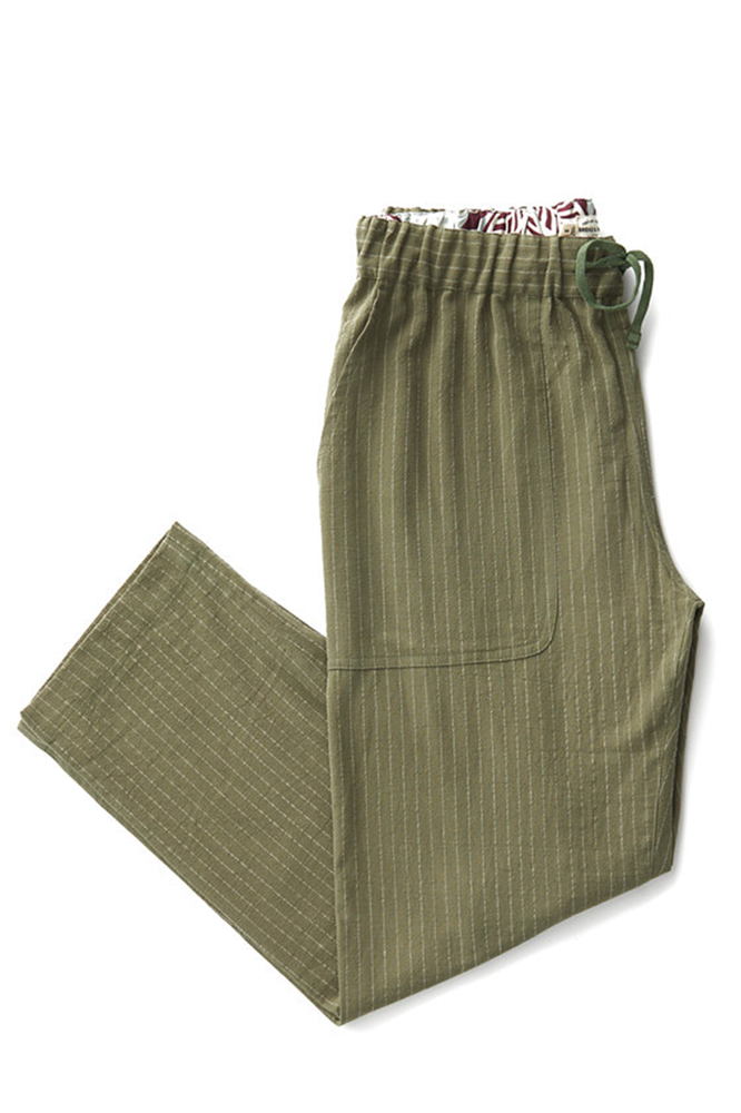 Bridge & Burn women's cotton pants drawstring Clipper Olive Pinstripe