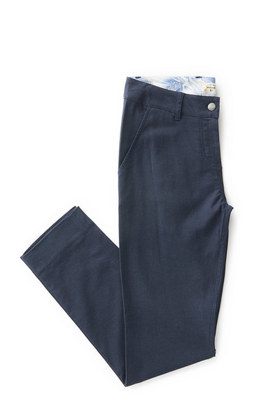 Bridge & Burn market crop Navy Linen cotton trousers women