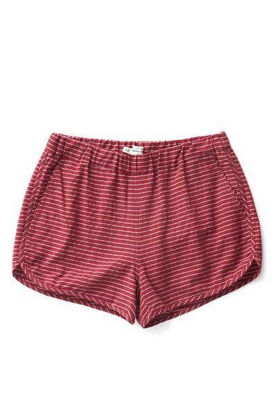 Bridge & Burn womens cotton shorts elastic waist Luca Burgundy Stripe