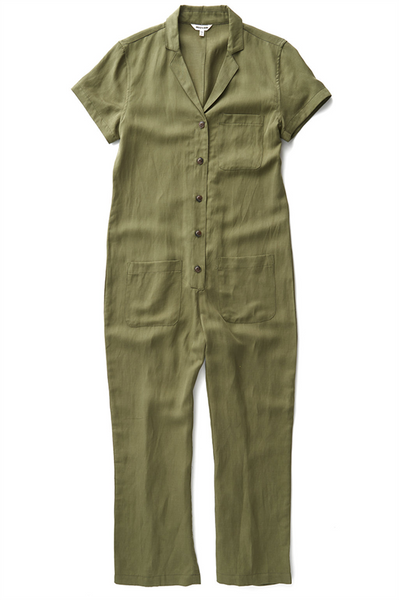 Bridge & Burn olive green jumpsuit with pockets Flynn Olive