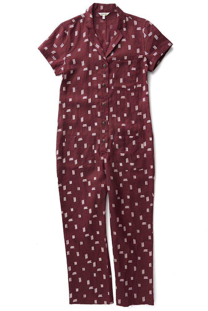 Bridge & Burn jumpsuit with pockets Flynn Burgundy Stripe Print