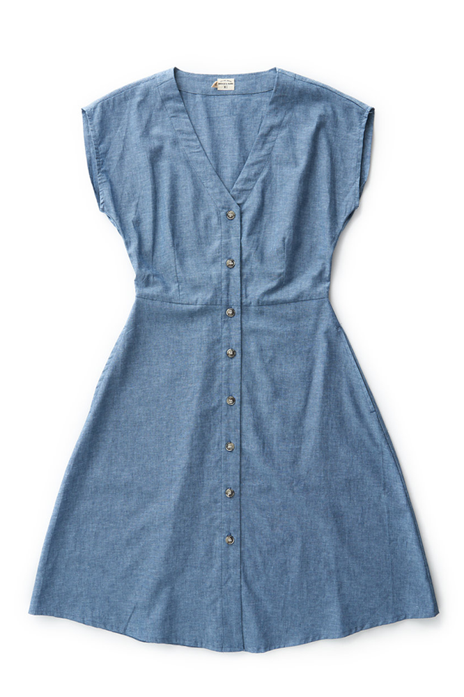 Bridge & Burn short sleeve chambray dress Mirabel dark chambray