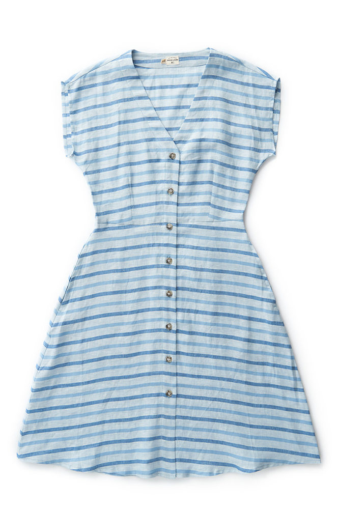 Bridge & Burn striped linen dress Mirabel aqua stripe