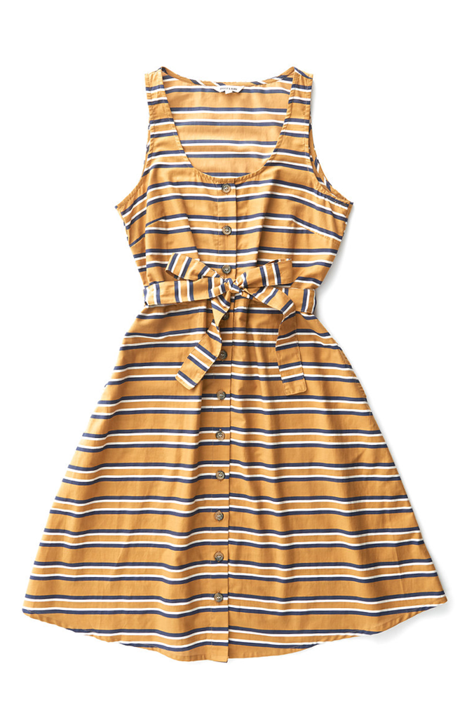 Bridge & Burn button front linen dress Aletta gold stripe