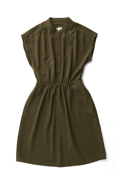 Bridge & Burn Lorane olive seersucker cinched waist dress