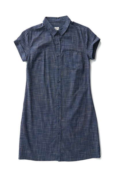 Bridge & Burn loren navy grid short sleeve button down shirt dress