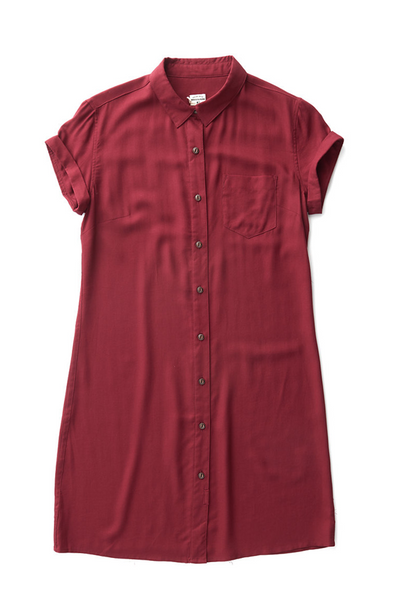 Bridge & Burn short sleeve button down dress Loren Burgundy