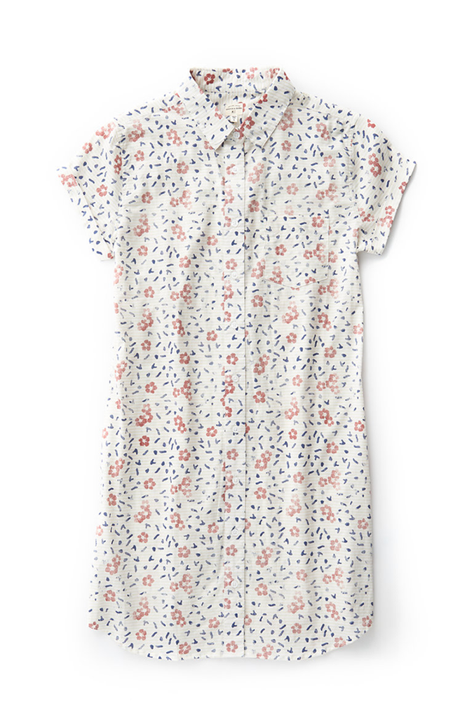 Bridge & Burn loren hibiscus short sleeve button down shirt dress
