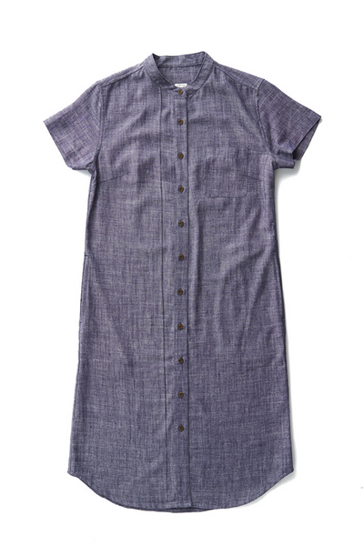 Bridge & Burn gibson navy slub linen button down shirt dress