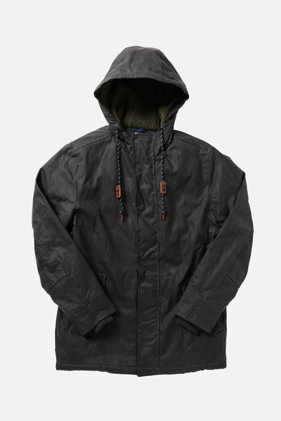 Waxed Cotton Parka with fleece lining