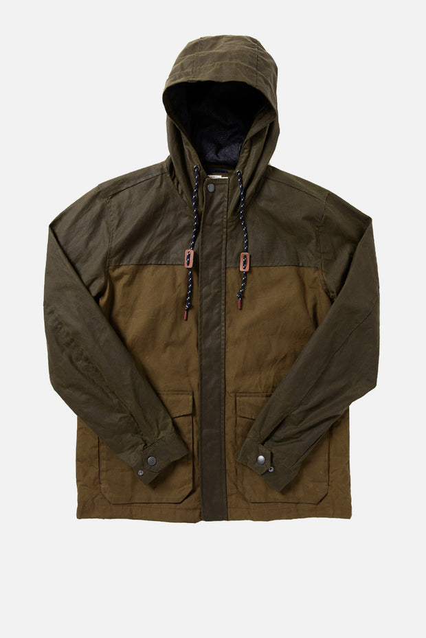 Men's Waxed Cotton Color Block Rain Jacket