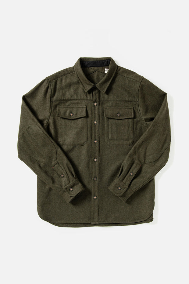 Men's Olive Relaxed Fit Wool-blend Overshirt