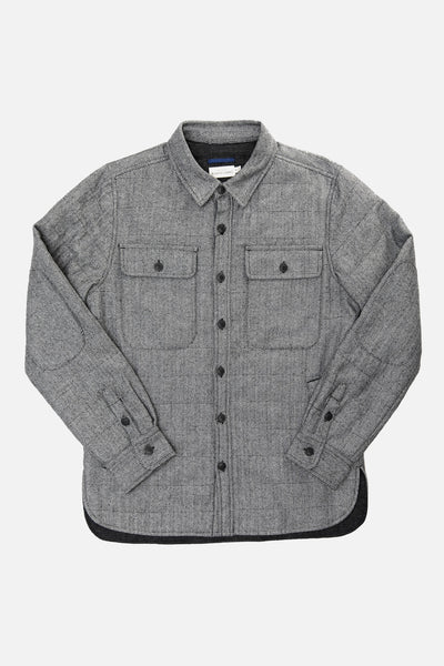 Grey wool herringbone shirt jacket by Bridge & Burn