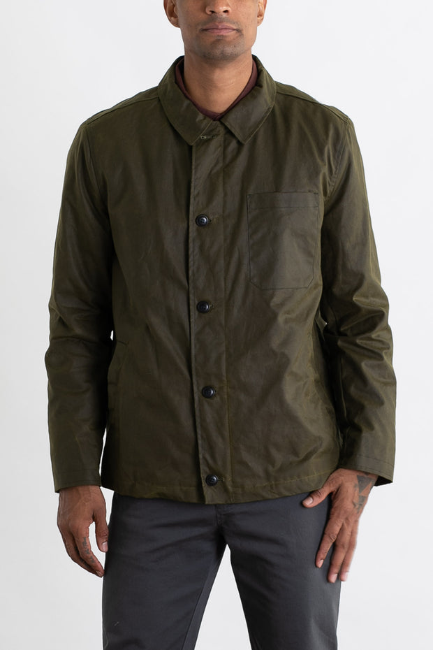 Waxed Cotton Deck Jacket with Fleece Lining