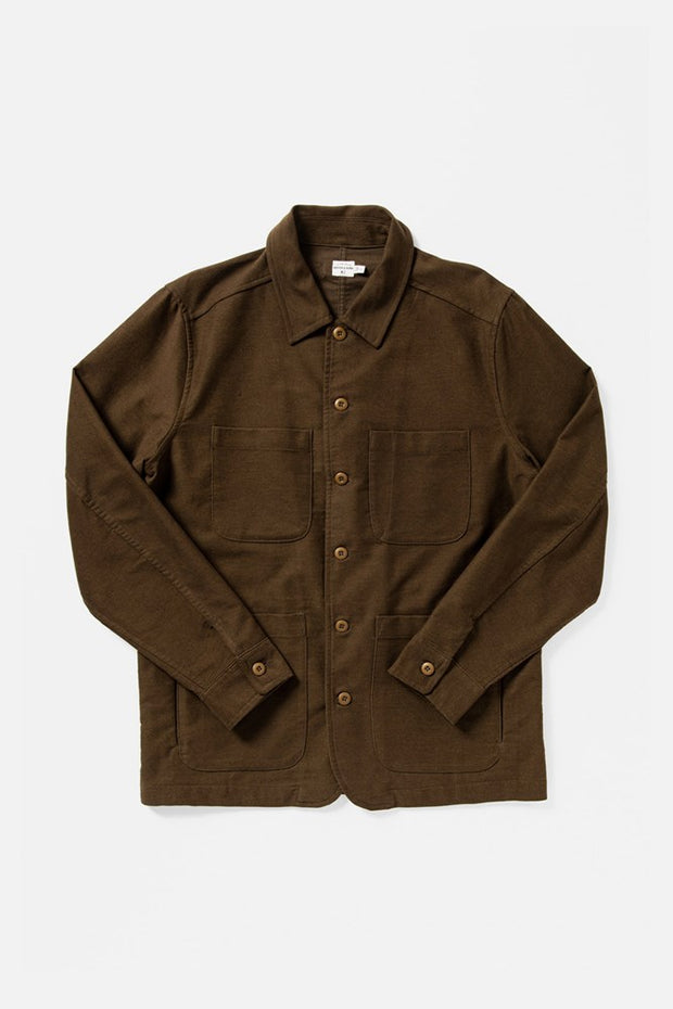 Men's Dark Brown Unlined Cotton-blend Chore Coat