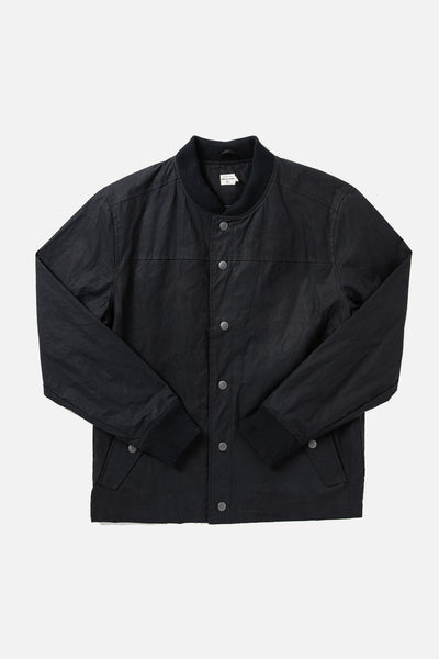 Black waxed cotton varsity jacket