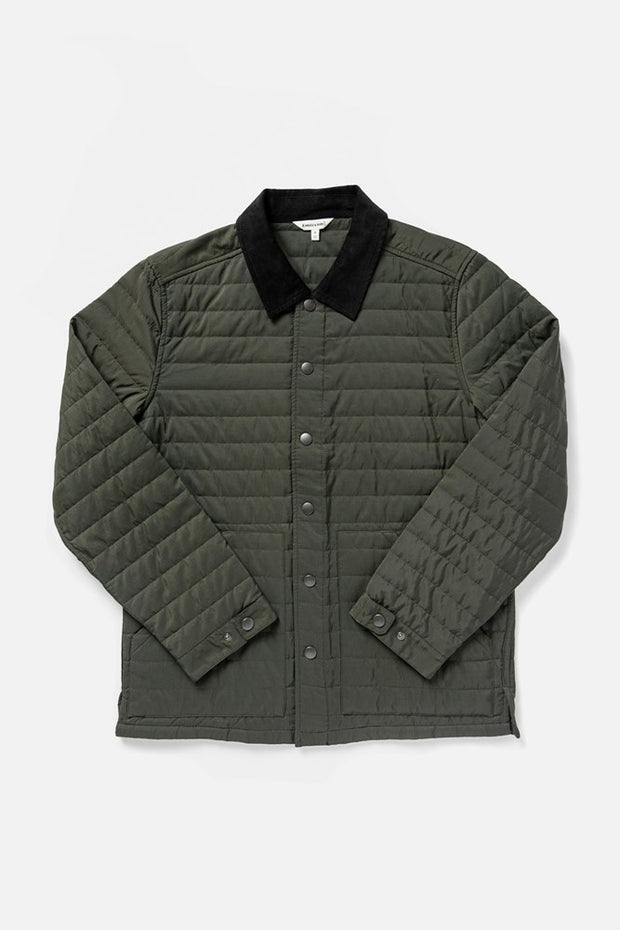 Men's Green Lightweight Quilted Nylon Collared Jacket