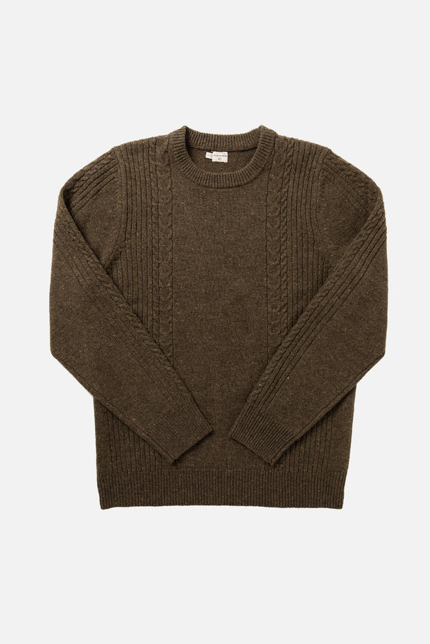 Olive merino wool cable knit sweater